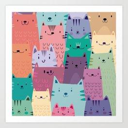 Pastel Cats Art Print