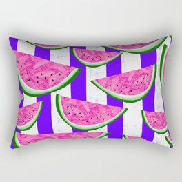 Watermelon Crush on purple stripes Rectangular Pillow
