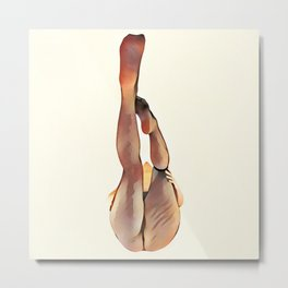 8283s-SLG Legs Up Woman in Mesh Stockings Watercolor Render Metal Print