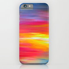BRIGHT HORIZONS Bold Colorful Rainbow Pink Yellow Blue Abstract Painting Sunrise Sunset Stripes  Slim Case iPhone 6s