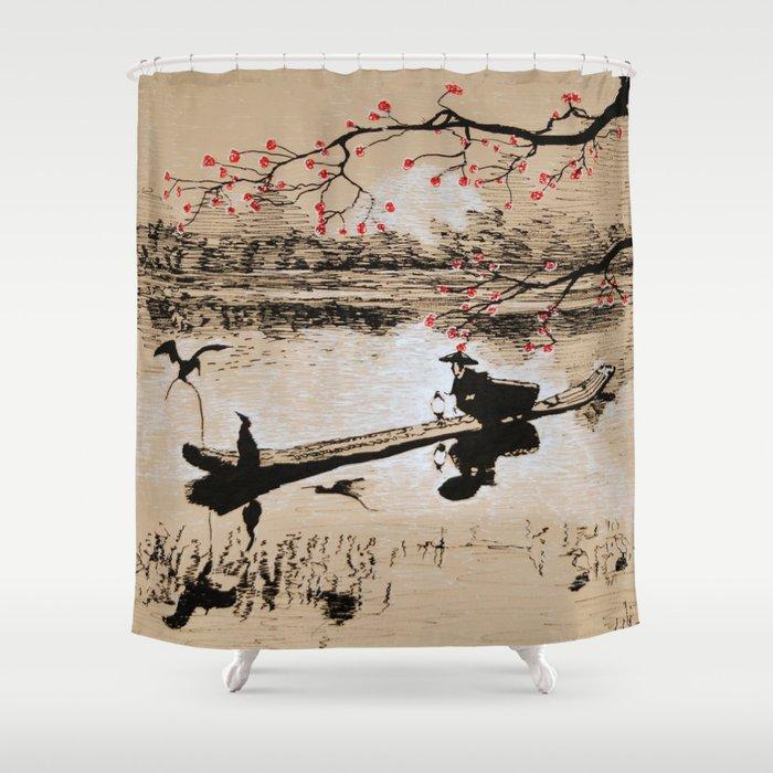 Bird Fishing Shower Curtain