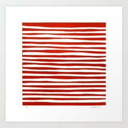 Waterline Pattern in Red Art Print