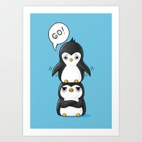 penguins Art Prints featuring Penguins by Freeminds