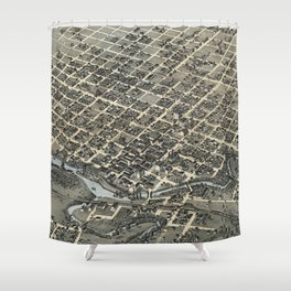 Vintage Pictorial Map of Houston Texas (1873) Shower Curtain