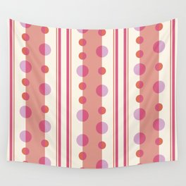 Modern Circles and Stripes in Peach and Cream Wall Tapestry