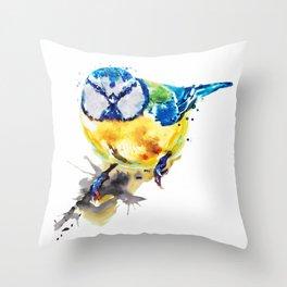 Tiny Colorful Bird Throw Pillow