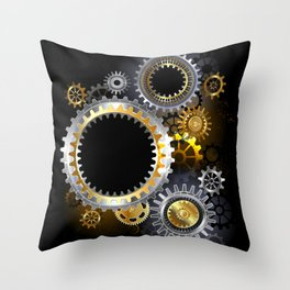 Steampunk Steel Gears Throw Pillow