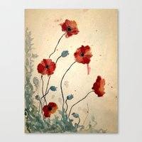 poppies Canvas Prints featuring Poppies by Megan Hunter