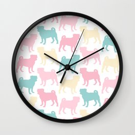 Pastel Pugs Pattern Wall Clock