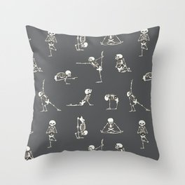 Skeleton Yoga_Gray Throw Pillow