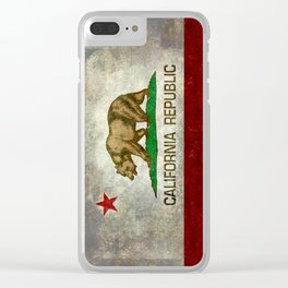 State flag of California in Grunge Clear iPhone Case