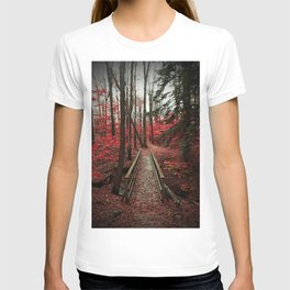 Bridge Through Autumn Forest T-shirt