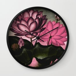 Mauve Pink Sacred Egyptian Bean Temple of Flora Wall Clock