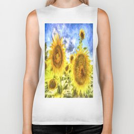 Summer Day Sunflowers Art Biker Tank
