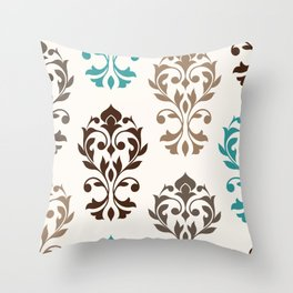 Heart Damask Art I Browns Teal Cream Throw Pillow
