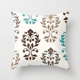 Heart Damask Art I Browns Teal Cream Throw Pillow