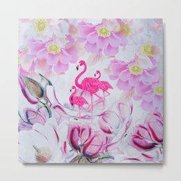 Pink watercolor flowers hand painted flamingo Metal Print