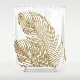 Palm Leaves Finesse Line Art with Gold Foil #2 #minimal #decor #art #society6 Shower Curtain