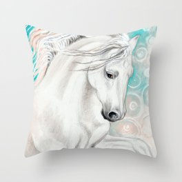 Andalusian Horse Blue Throw Pillow