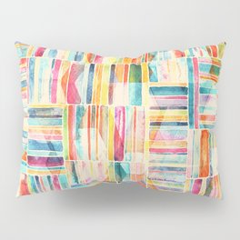 Summer Pastel Geometric and Striped Abstract on cream Pillow Sham