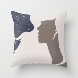 Woman and The Star Light Throw Pillow