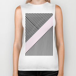 Chic black white baby pink trendy stripes  Biker Tank