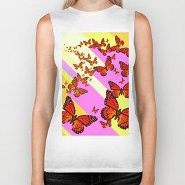 Sun Light Beams Butterflies Migrating Pink-yellow Biker Tank