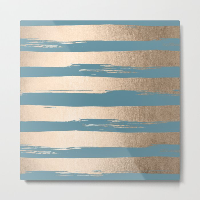Painted Stripes Gold Tropical Ocean Blue Metal Print
