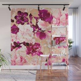 Watercolor pink flowers Wall Mural