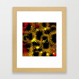 abstract glowing pattern of gears and spheres in red gold on a black background for fabrics o Framed Art Print
