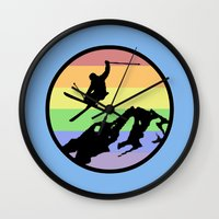 skiing Wall Clocks featuring skiing 2 by Paul Simms