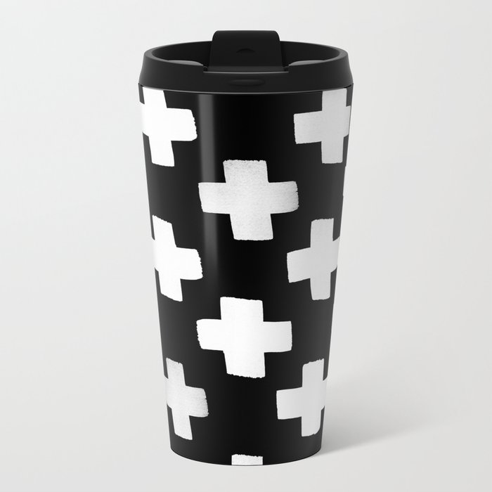 Criss Cross Pattern Metal Travel Mug