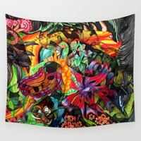 hippy Wall Tapestries featuring Just another day in the jungle by Donuts