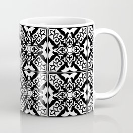 Moroccan Tile Pattern in Black and White Coffee Mug
