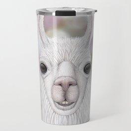 Llama farm animal portrait Travel Mug