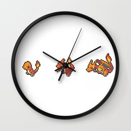 Red Evolutions Charmander/Charmeleon/Charizard Wall Clock