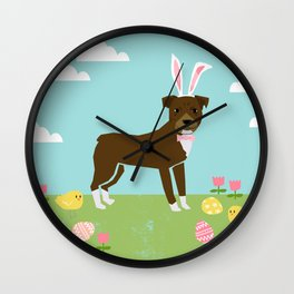 Pitbull dog breed easter spring pet portrait pibble rescue dog lovers Wall Clock