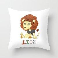 leon Throw Pillows featuring Leon by eva vasari