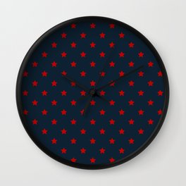 Red Stars on a Navy Blue Background Wall Clock