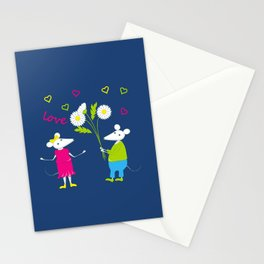 pair of white enamored mouses Stationery Cards