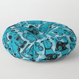 Pup Party in Teal Gingham Floor Pillow