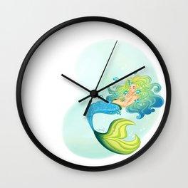Blue Tang Mermaid Wall Clock