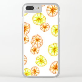 morning glory orange and yellow Clear iPhone Case