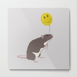 Rat with a Happy Face Balloon Metal Print