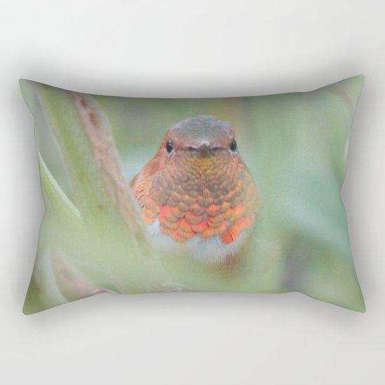 An Allen's Hummingbird Amid Mexican Sage Rectangular Pillow