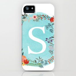 Personalized Monogram Initial Letter S Blue Watercolor Flower Wreath Artwork iPhone Case