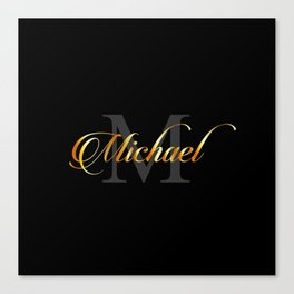 Name and initial of a boy Michael in golden letters Canvas Print