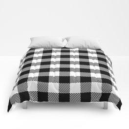 Buffalo Plaid - Black and White Comforters