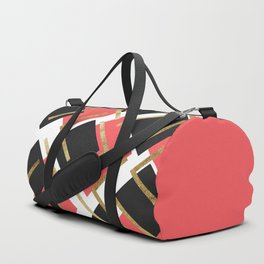 Chic Coral Pink Black and Gold Square Geometric Duffle Bag