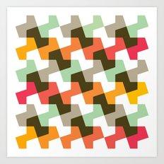 Mint green, orange & red pattern Art Print